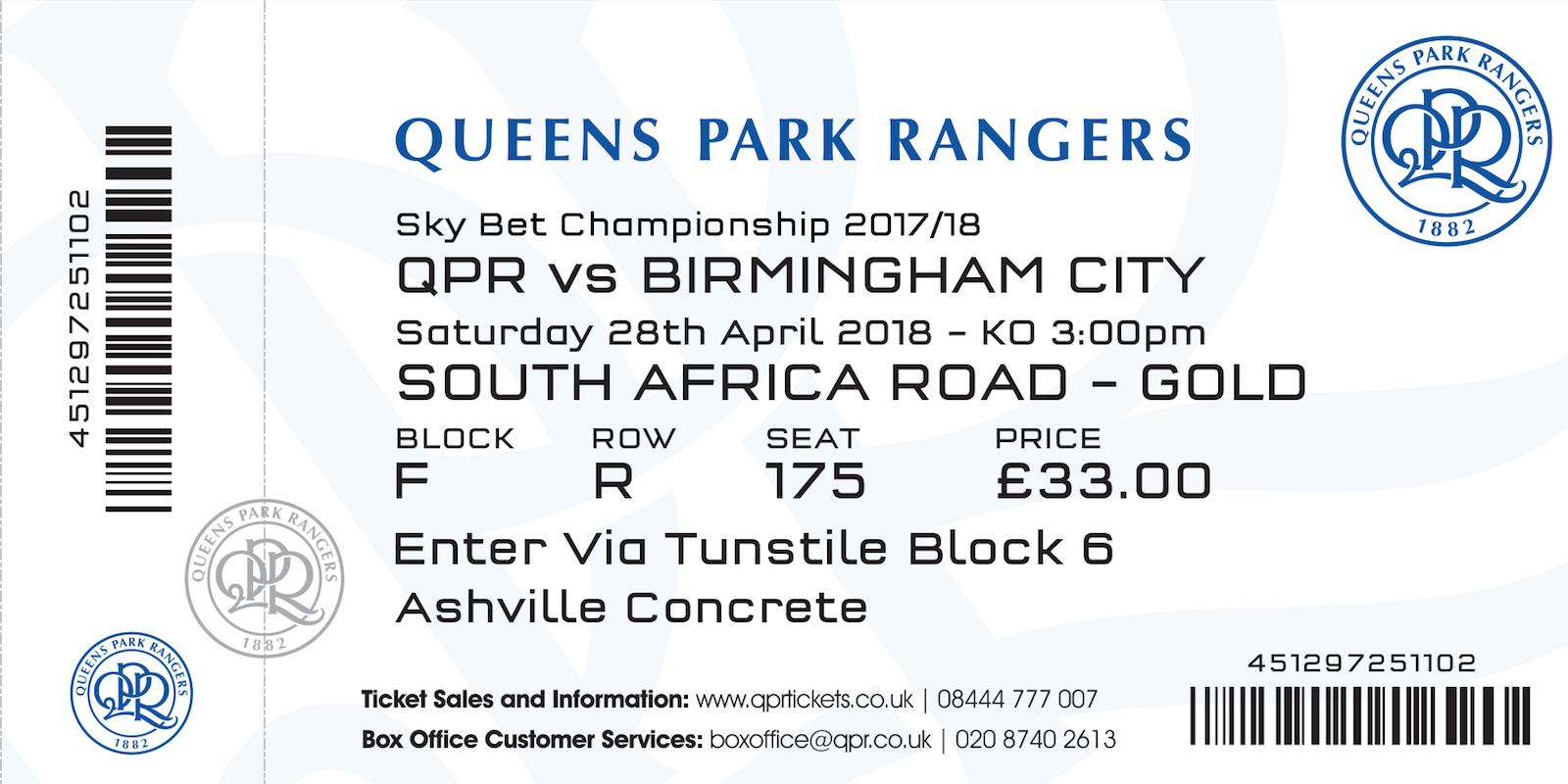Win two ticket to QPR vs Birmingham City!