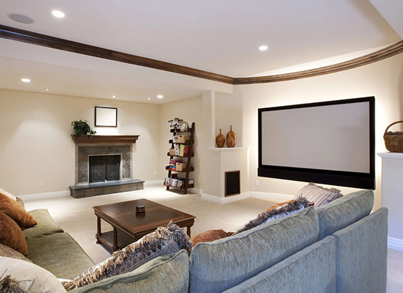 Luxury basement conversion with cinema screen