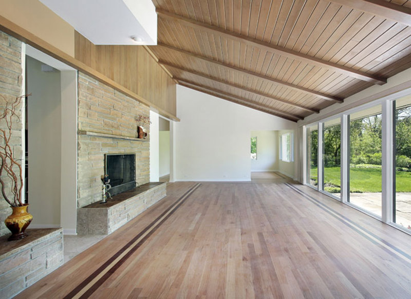 Luxury extension with natural wood floor and ceiling